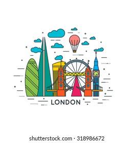 London city line color illustration