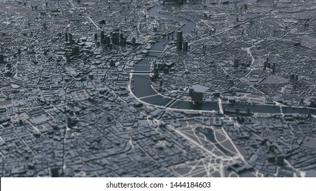 London city map. 3d map of London. 3d illustration