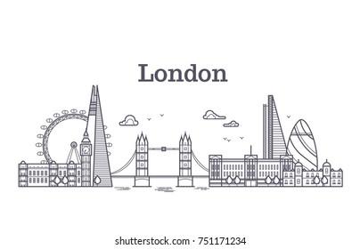 London city skyline with famous buildings, tourism england landmarks outline illustration. Line london panorama building, skyline architecture city of london