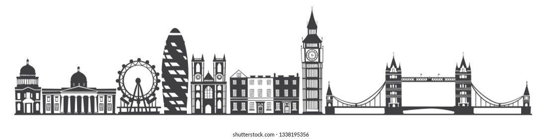 London city skyline gray silhouette background. Ilustration isolated on white background
