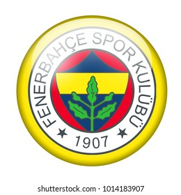 LONDON / ENGLAND - October 24, 2012: FC Fenerbahce logo on glossy button. Isolated on white backgound