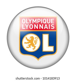LONDON / ENGLAND - October 24, 2012: FC Olympique Lyonnais logo on glossy button. Isolated on white backgound