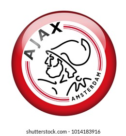 LONDON / ENGLAND - October 24, 2012: FC Ajax logo on glossy button. Isolated on white backgound
