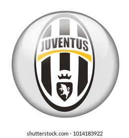 LONDON / ENGLAND - October 24, 2012: FC Juventus logo on glossy button. Isolated on white backgound