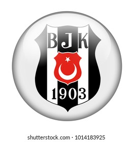 LONDON / ENGLAND - October 24, 2012: FC Besiktas logo on glossy button. Isolated on white backgound