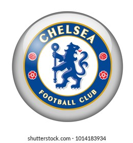 LONDON / ENGLAND - October 24, 2012: FC Chelsea logo on glossy button. Isolated on white backgound