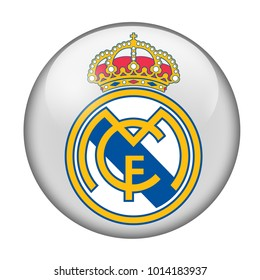 LONDON / ENGLAND - October 24, 2012: FC Real Madrid logo on glossy button. Isolated on white backgound
