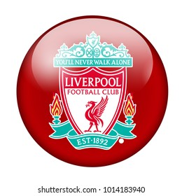 LONDON / ENGLAND - October 24, 2012: FC Liverpool logo on glossy button. Isolated on white backgound