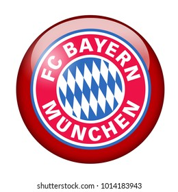 LONDON / ENGLAND - October 24, 2012: FC Bayern Munich logo on glossy button. Isolated on white backgound