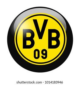 LONDON / ENGLAND - October 24, 2012: FC Borussia Dortmund logo on glossy button. Isolated on white backgound