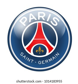 LONDON / ENGLAND - October 24, 2012: FC Paris Saint-Germain logo on glossy button. Isolated on white backgound