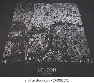 London, England, satellite map view, map in negative, roads and buildings