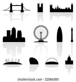 London famous landmarks isolated on a white background