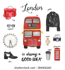 London fashion illustration. Watercolor drawing.