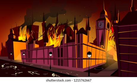 London in fire of plague epidemic illustration. London city burning at plague disease with dead people skeletons on night streets at cartoon Big Ben or Parliament House for Britain history