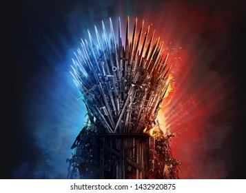 LONDON, GB - JUNE 24, 2019: Medieval iron throne of kings made of weapons: swords, daggers, spears, knives blades. Misterious low key middle ages fantasy background design element in fire and ice. 3D
