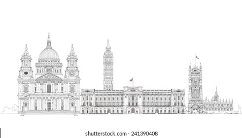 London iconic buildings. Big Ben, St. Paul cathedral, Westminster Parliament tower. Sketch collection