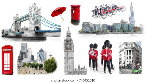 London landmarks, hand drawn collection. Illustration in draw, sketch style.