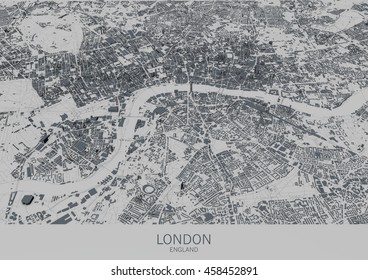 London map, satellite view, city, England. 3d rendering