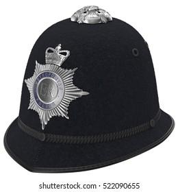 London Metropolitan Police Custodian Helmet on white. 3D illustration