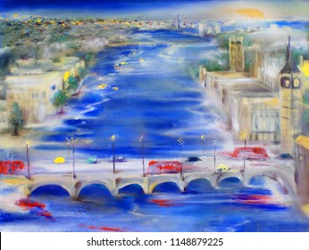 London oil painting cityscape