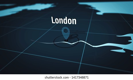 London on simple blue map. Atlas chart with city marked by pushpin. Maps 3d illustration.