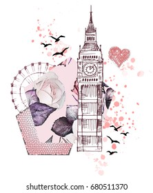 London - poster design with pink rose. Graphic big ben. Heart with grunge textures. Watercolor flower. Floral Abstract background. Travel design print. Hand painted illustration.