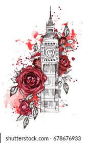 London - poster design with red rose. Graphic big ben. Watercolor flower and splash paint. Floral Abstract background. Travel design print. Hand painted illustration.