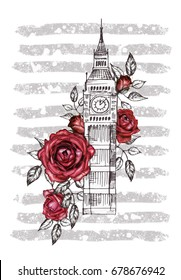 London - poster design with red rose. Graphic big ben. strip with grunge textures. Watercolor flower. Floral Abstract background. Travel design print. Hand painted illustration.