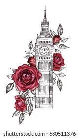 London - poster design with rose. Graphic big ben. Watercolor flower. Floral Abstract background. Travel design print. Hand painted illustration.