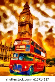 London red bus and Big Ben oil painting