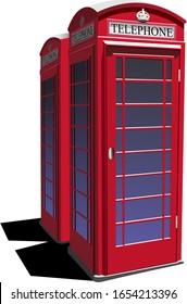 London red public phone  box. Color illustration