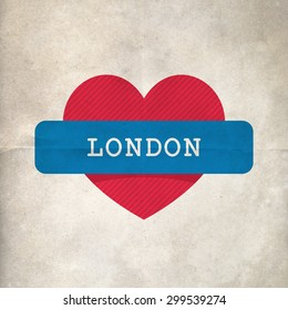 London sign on a heart background.