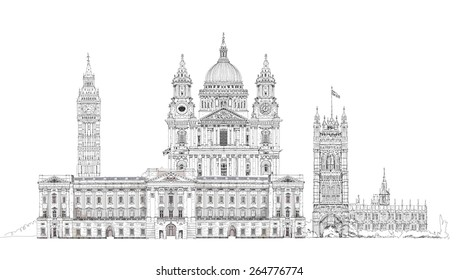 London, sketch illustration. Big Ben, Parliament, st. Paul cathedral and palace