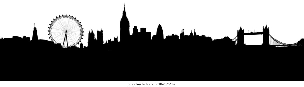 London skyline silhouette, with all important buildings and attractions of the city