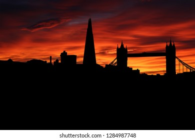 London skyline silhouette on colourful sunset background illustration