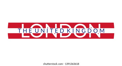 London text. The United Kingdom and London city banner, poster, Tee print, T-shirt graphics. England or UK Typography design.