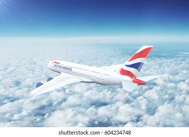 LONDON, UK - CIRCA 2017: In-flight view of British Airways Airbus A380 Commercial Passenger Aircraft Flying High Up in the Sky Above the Clouds. 3D Illustration.
