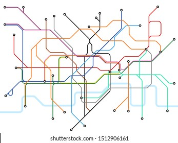 London underground map. Subway public transportation scheme. Uk train station plan