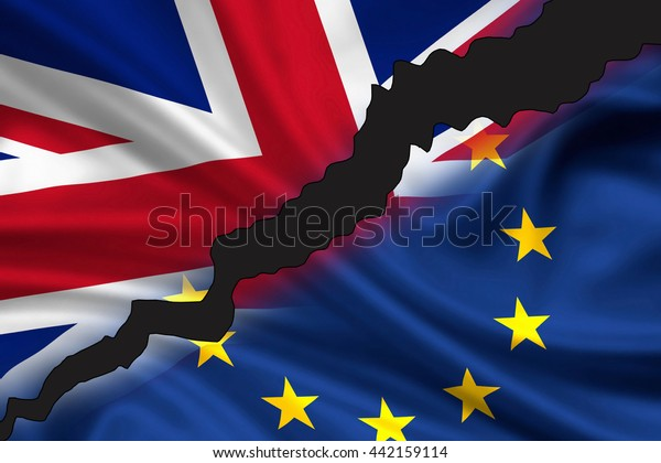 London, United Kingdom - June 24, 2016: Tattered / divided flag of Great Britain (Union Jack) and Europe symbolizing the exit of UK from Europe (Brexit).