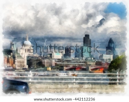 london watercolor illustration stock illustration 442112236