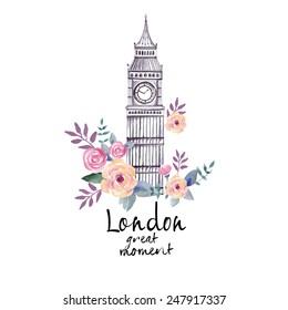 London watercolor illustration (London great moment)