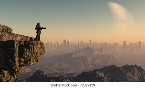 Lone Space Marine guardsman standing on a cliff edge overlooking a distant city on an alien world, 3d digitally rendered illustration
