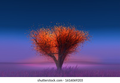 Lone tree with red leaves on a hazy background with tints of blue, pink and purple. Autumn. 3D render / rendering