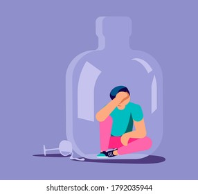 Lonely alcoholic man trapped in a bottle. Alcohol addiction metaphor. Isolated on purple. Flat Art Rastered Copy