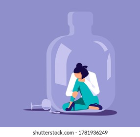 Lonely alcoholic woman trapped in a bottle. Alcohol addiction metaphor. Isolated on purple. Flat Art Rastered Copy