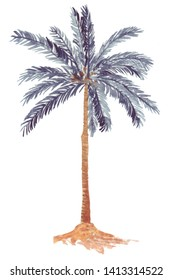 Lonely blue palm tree standing on a sandy island in the middle of the ocean, swaying in the wind and leaning towards the water. Watercolor hand drawn illustration