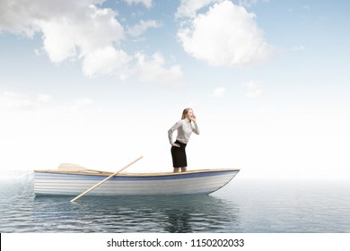 Lonely businesswoman standing in an oar boat in an open sea and crying for help.Concept of travelling, adventure and wrong business decisions. 3d rendering mock up