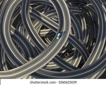 lonely car at the traffic junction, 3d illustration