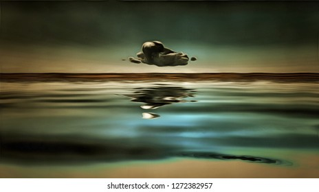 Lonely cloud above water surface. 3D rendering